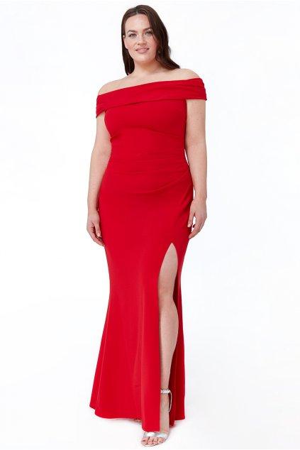 Dlouhé společenské šaty Claudia s rozparkem červené