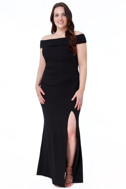 Dlouhé společenské šaty Claudia s rozparkem černé