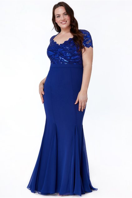 Dlouhé společenské šaty Katrin královská modrá 2
