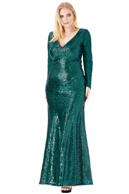 Dlouhé plesové šaty Nebesca esmerald