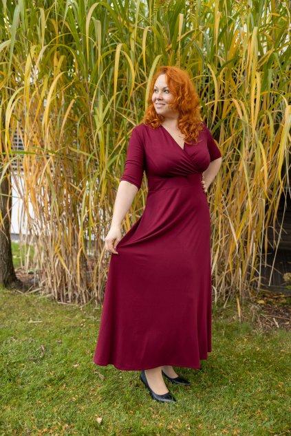 Dlouhé společenské šaty Lubica s překládaným výstřihem vínové 10
