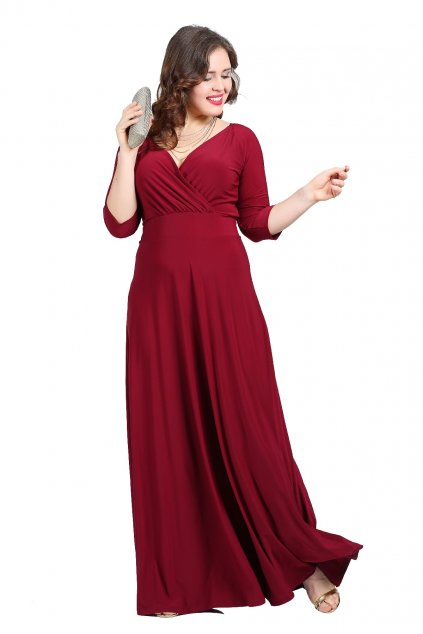 Dlouhé společenské šaty Lubica s překládaným výstřihem vínové 1