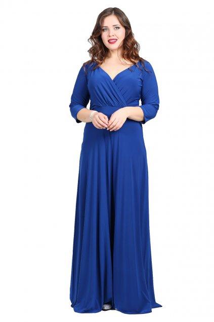 Dlouhé společenské šaty Lubica s překládaným výstřihem královská modrá