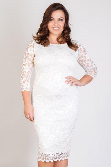 Krajkové šaty Adlib pouzdrového střihu bílé 2