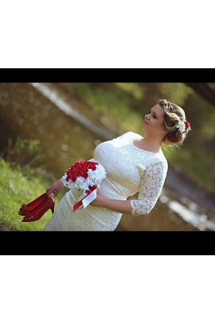 Krajkové šaty Adlib pouzdrového střihu bílé 6