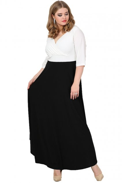 Dlouhé společenské šaty Lubica černo bílé 1