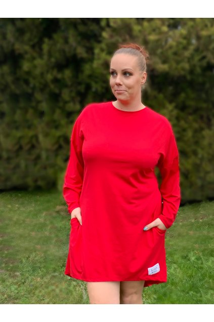 Dámské tričkošaty s dlouhým rukávem červené
