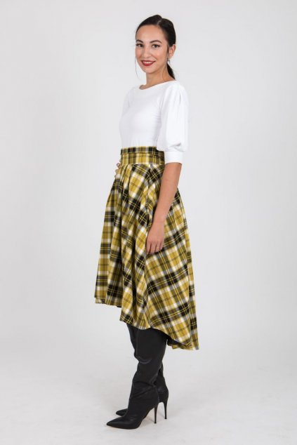 Dámská károvaná sukně žlutá 1