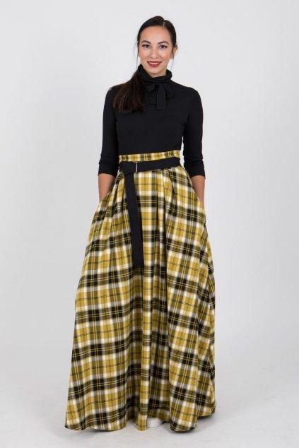 Maxi károvaná sukně žlutá 1