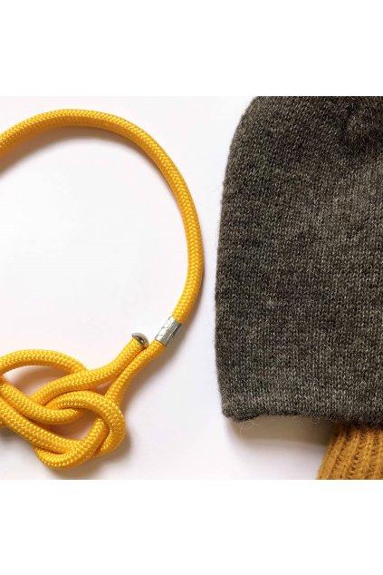 Žlutý proplétaný náhrdelník 1