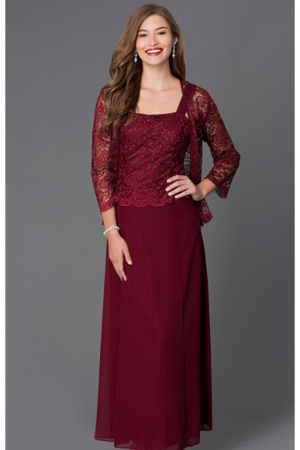 Dlouhé vínové šaty Timeless s krajkovým bolérkem 1