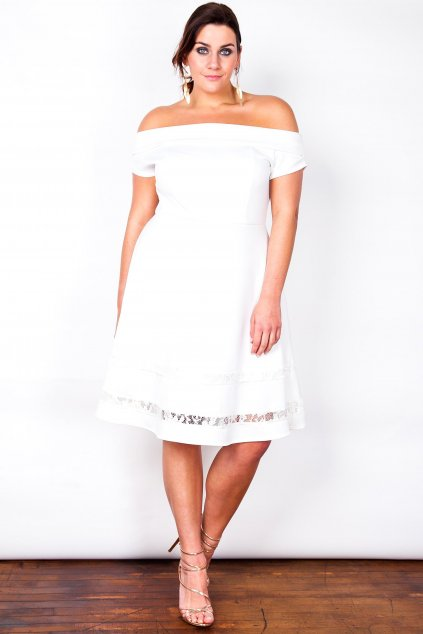 Šaty Lady s romantickou krajkou bílé 1