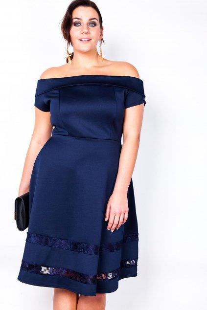 Šaty Lady s romantickou krajkou modré 2