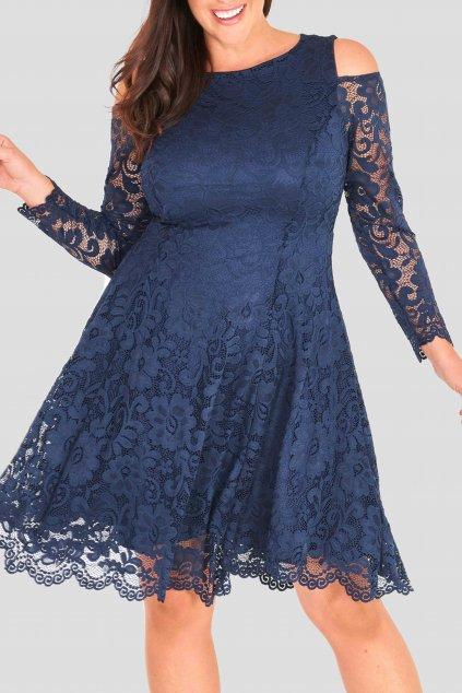 Krajkové šaty Pearl s odhalenými rameny modré 5
