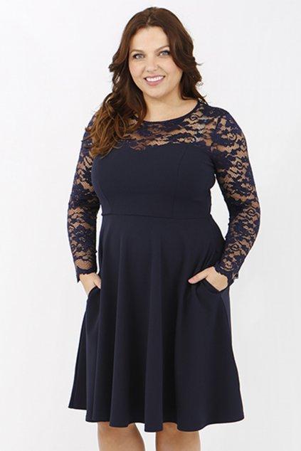Krajkové šaty Katrus s hladkou sukní modré 1