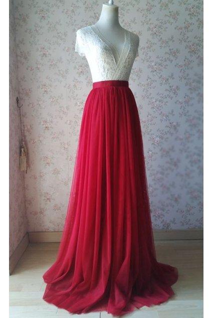 Dlouhá tylová sukně Abagail červená