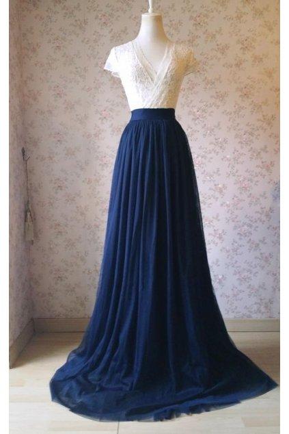 Dlouhá tylová sukně Abagail Bellazu tmavě modrá