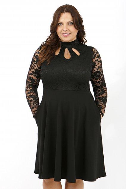 Krajkové šaty Ripley s hladkou sukní černé 1