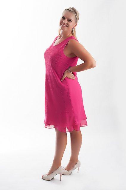 Krásné společenské šaty Lady Emilly s kabátkem růžové 6