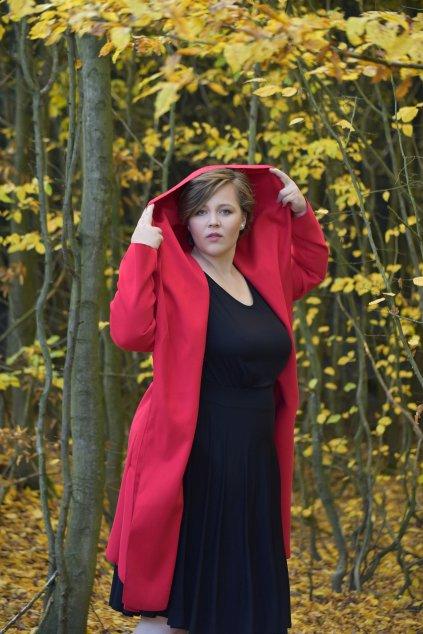 Dámský flaušový kabát červený 13