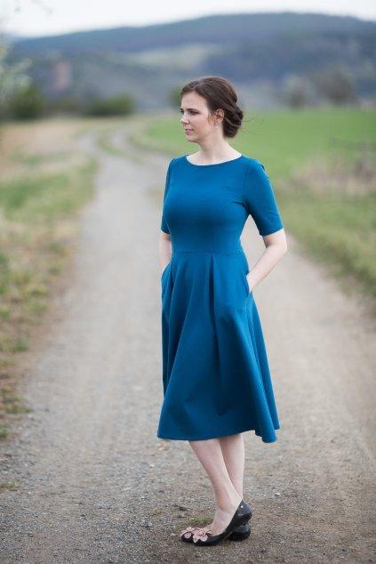 Dámské šaty Paola Bellazu petrolejové