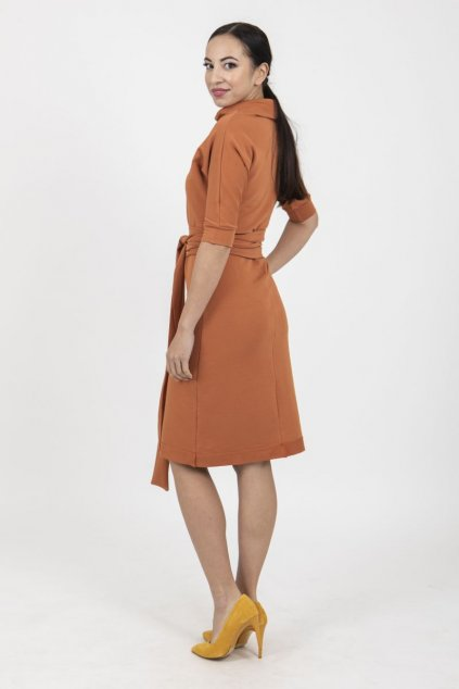 Zavinovací šaty reglán cihlové 1