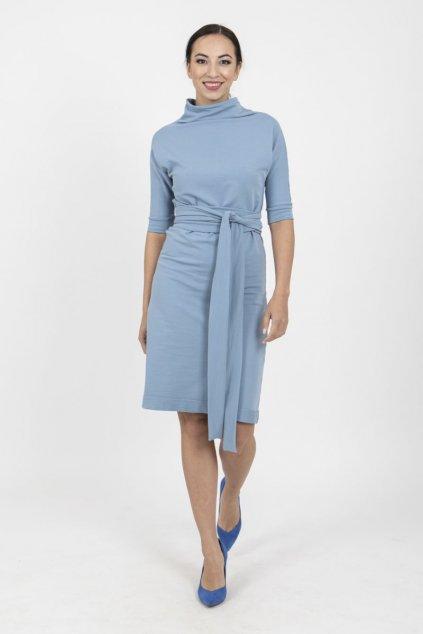 Zavinovací šaty reglán modré 5
