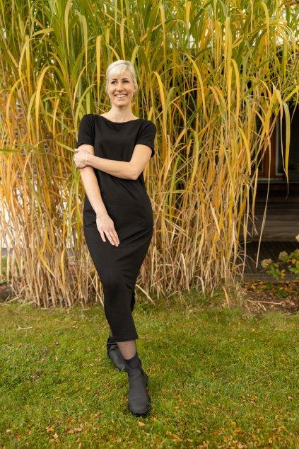 Dámské maxi šaty s krátkým rukávem černé