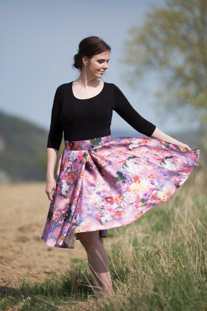 Taftová květinová sukně Rosie 1