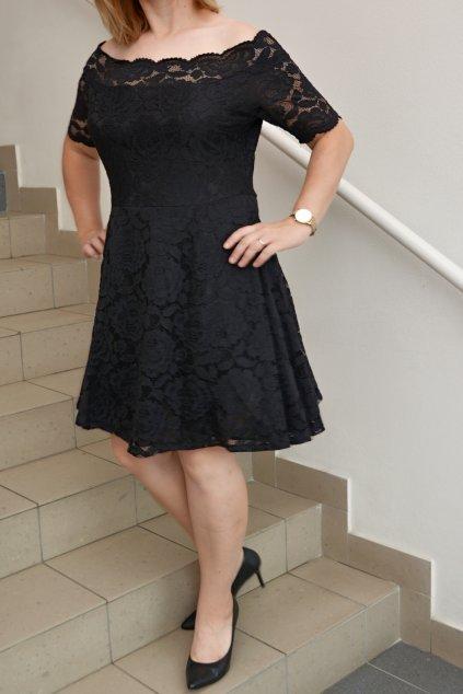 Krajkové šaty Avant s rozšířenou sukní černé 1