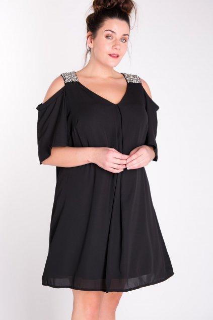 Šaty Joop se stříbrnými ramínky černé 1