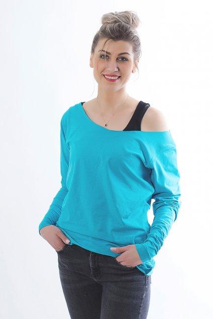 Volné triko Jess s dlouhým rukávem modrozelené 1