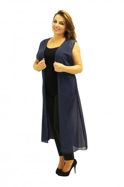 Dlouhé průsvitné sako Luci bez rukávů tmavě modré 1