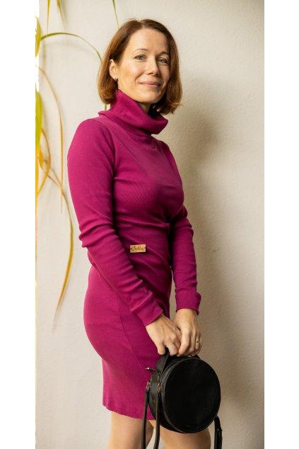 Rolákové šaty amarant 1