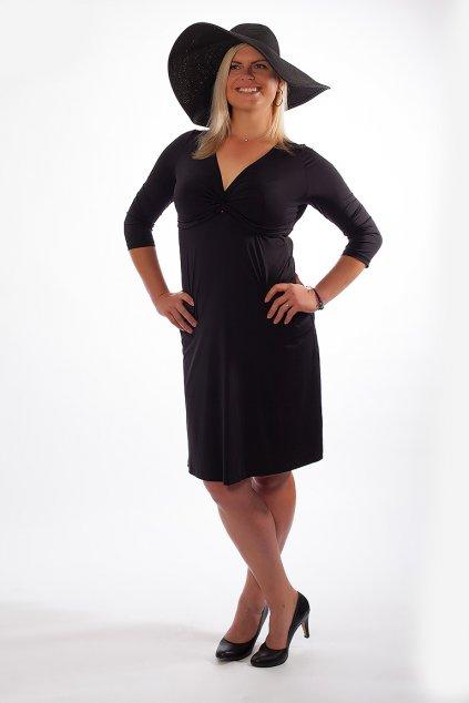 Klasické šaty Alexa Bellazu s hlubokým výstřihem a 3:4 rukávem černé 1