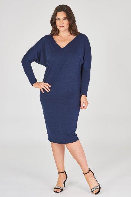 Hladké šaty Theme s netopýřími rukávy tmavě modré 1