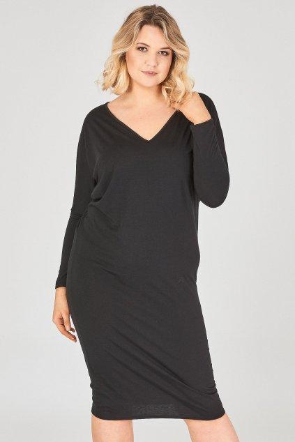 Hladké šaty Theme s netopýřími rukávy černé 1