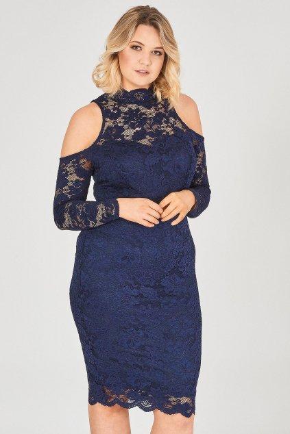 Krajkové šaty Candy s odhalenými rukávy tmavě modré 1