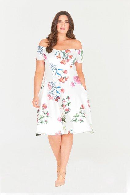 Bílé květinové šaty Honey s rozšířenou sukní 1