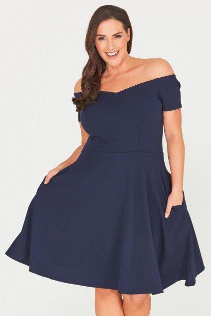Tmavě modré šaty Honey s rozšířenou sukní 1