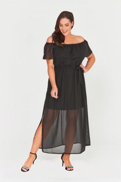Dlouhé černé šaty Chaos s průsvitnou sukní 1