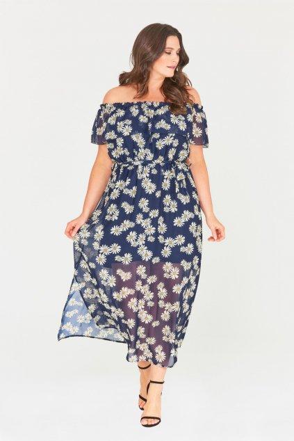 Dlouhé šaty Chaos s průsvitnou sukní tmavě modré 1