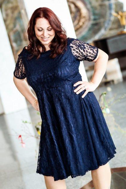 Krajkové šaty Cos s rukávkem tmavě modré 11