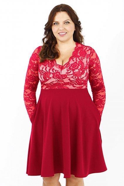 Krajkové šaty Crush s hladkou sukní červené 1