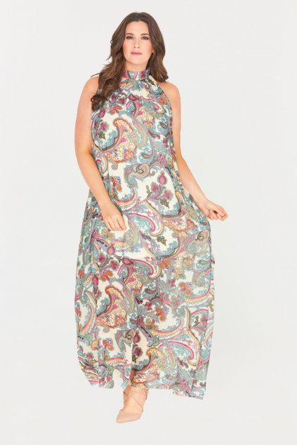 Dlouhé krémové šaty Saydee s průhlednou sukní orient 2