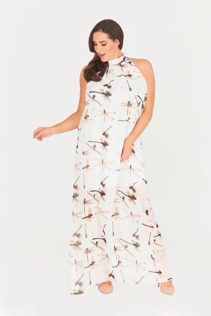 Dlouhé krémové šaty Saydee s průhlednou sukní dragonfly 1