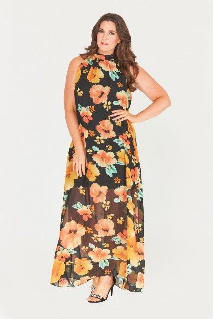 Dlouhé černé šaty Saydee s průhlednou sukní květinové 1