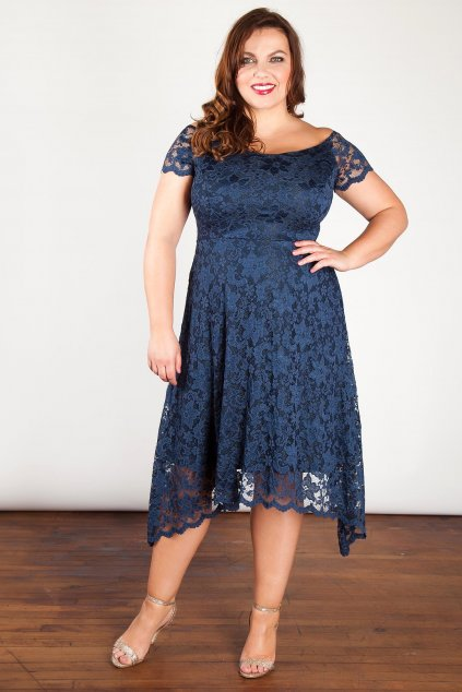 Krajkové šaty Rain s asymetrickou sukní modré 1