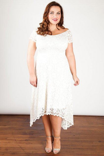 Svatební krajkové šaty Rain s asymetrickou sukní 1
