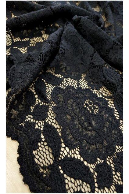 Dlouhé krajkové šaty Marble s krátkým rukávem černé 5